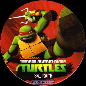 PaxToy.com  Фишка / POG / CAP / Tazo 34_RAPH из Chipicao: Teenage Mutant Ninja Turtles
