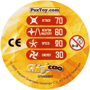 PaxToy.com - Фишка / POG / CAP / Tazo 46_MIKEY (Сторна-back) из Chipicao: Teenage Mutant Ninja Turtles