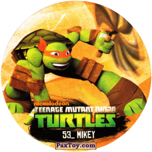 PaxToy.com  Фишка / POG / CAP / Tazo 53_MIKEY из Chipicao: Teenage Mutant Ninja Turtles