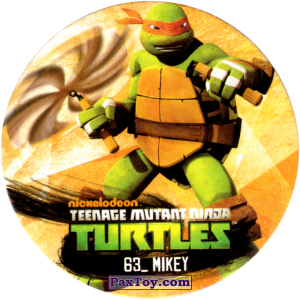 PaxToy.com  Фишка / POG / CAP / Tazo 63_MIKEY из Chipicao: Teenage Mutant Ninja Turtles