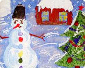 PaxToy.com - 07 Снеговик возле дома - Саша, 8 Лет (Сторна-back) из GP Batteries: Магниты - Подари Жизнь!