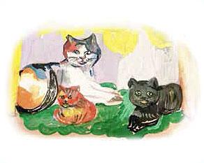 PaxToy.com - 03 Кошка с котятами - Лера, 11 Лет (Сторна-back) из GP Batteries: Магниты - Подари Жизнь!
