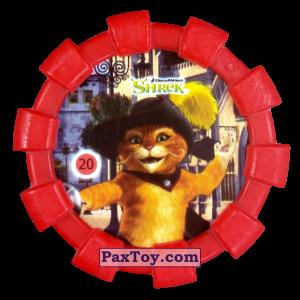 PaxToy.com  Фишка / POG / CAP / Tazo 20 Кот в сапогах (Резиновый бампер) из Cheetos: Shrek (Blaster)