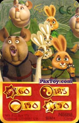 PaxToy.com  Карта, Карточка / Card 60 Скорость Дракона - Mop Bunny, Stain Pig, Mr. Ping, Happy Bunny, Bunny Fan, Dumpling Bunny из Kosmostars: Карты «Кто Сильнее?»