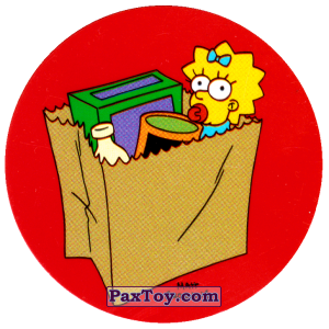 PaxToy.com  Фишка / POG / CAP / Tazo 76 Термоядерная семейка! - Мэгги в маркете из Cheetos: The Simpsons Tazo