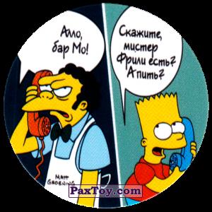 PaxToy.com  Фишка / POG / CAP / Tazo 77 Бар Мо! - Телефонный розыгрыш Барта из Cheetos: The Simpsons Tazo
