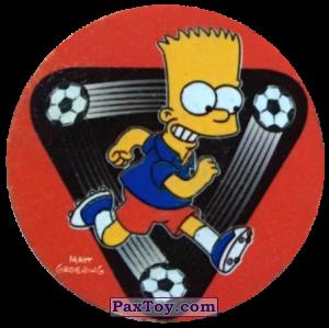 PaxToy.com  Фишка / POG / CAP / Tazo 96 Жизнь в спорте! - Барт и футбол из Cheetos: The Simpsons Tazo