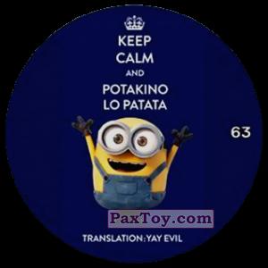 PaxToy.com  Фишка / POG / CAP / Tazo 63 KEEP CALM AND POTAKINO LO PATATA из Chipicao: Minions