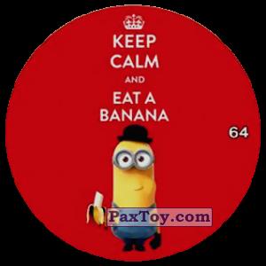 PaxToy.com  Фишка / POG / CAP / Tazo 64 KEEP CALM AND EAT A BANANA из Chipicao: Minions