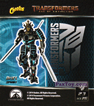 PaxToy.com  Карточка / Card, Наклейка / Стикер 23 Drift - Дрифт из Cheetos: Transformers - Age of Extinction.