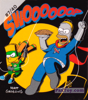 PaxToy.com  Наклейка / Стикер #7 of 40 Pieman and CupcakeKid - Swoooooop из Cheetos: The Simpsons Bartman