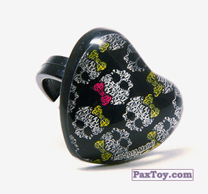 PaxToy.com - 11 Кольцо штамп Сердце - Черепушка с бабочкой из Choco Balls: Monster High