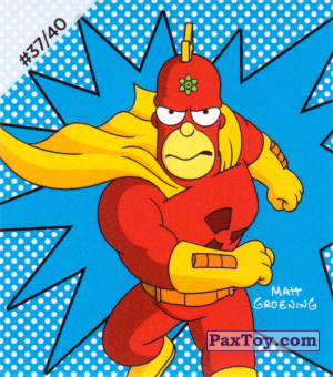 PaxToy.com  Наклейка / Стикер #37 / 40 Radioactive Man из Cheetos: The Simpsons Bartman
