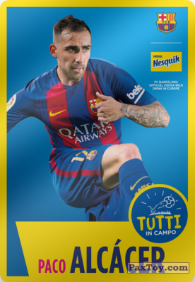 PaxToy.com  Карточка / Card 14 Paco Alcácer из Nesquik: Cards F.C. Barcelona (Italy)