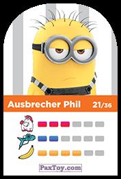PaxToy.com - 21 Ausbrecher Phil (Сторна-back) из REWE: Minions Cards