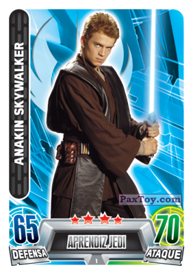 PaxToy.com  Карточка / Card 001 Anakin Skywalker из Carrefour: Star Wars Heroes y Villanos Force Attax