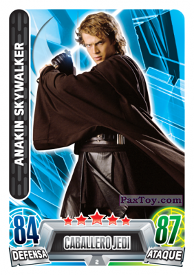 PaxToy.com - 002 Anakin Skywalker из Carrefour: Star Wars Heroes y Villanos Force Attax