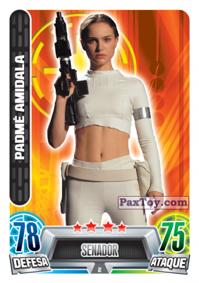PaxToy.com - 002 Padme Amidala из Topps: Star Wars Force Attax Heroes y Villanos from Continente