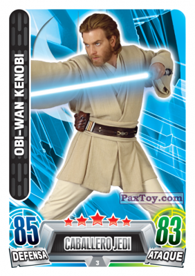 PaxToy.com - 003 Obi-Wan Kenobi из Carrefour: Star Wars Heroes y Villanos Force Attax