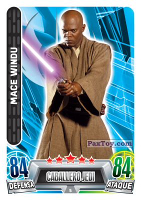 PaxToy.com - 005 Mace Windu из Topps: Star Wars Heroes y Villanos (Force Attax) from Carrefour