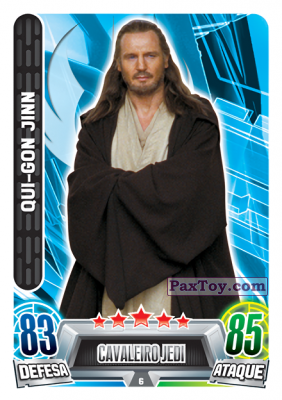 PaxToy.com - 006 Oui-Gon Jinn из Topps: Star Wars Force Attax Heroes y Villanos from Continente