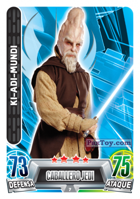 PaxToy.com  Карточка / Card 007 Ki-Adi Mundi из Carrefour: Star Wars Heroes y Villanos Force Attax