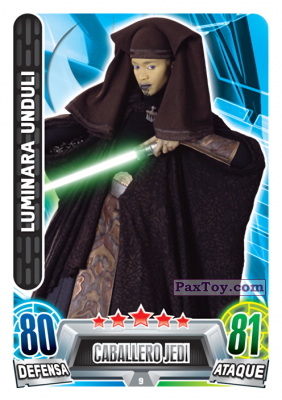 PaxToy.com - 009 Luminara Undul из Carrefour: Star Wars Heroes y Villanos Force Attax