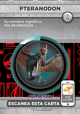PaxToy.com - 01 Pteranodon (Сторна-back) из Supermercados DIA: Jurassic World - Cards