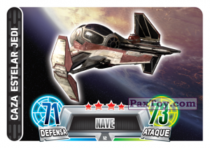 PaxToy.com  Карточка / Card 012 Jedi Starfighter из Carrefour: Star Wars Heroes y Villanos Force Attax