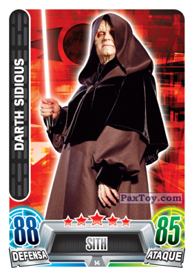 PaxToy.com  Карточка / Card 014 Darth Sidious из Carrefour: Star Wars Heroes y Villanos Force Attax