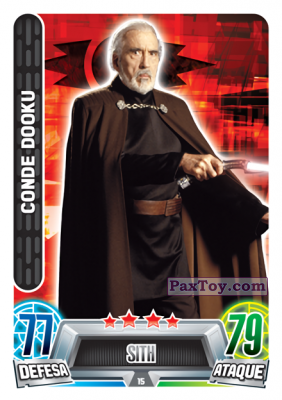 PaxToy.com - 015 Conde Dooku из Topps: Star Wars Force Attax Heroes y Villanos from Continente