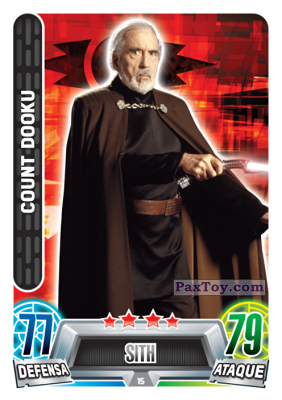 PaxToy.com - 015 Count Dooku из Carrefour: Star Wars Heroes y Villanos Force Attax