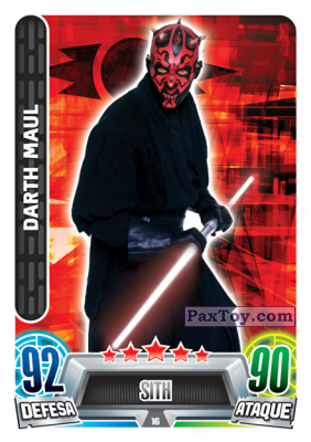 PaxToy.com - 016 Darth Maul из Topps: Star Wars Force Attax Heroes y Villanos from Continente