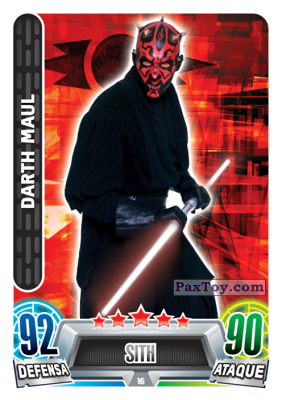 PaxToy.com  Карточка / Card 016 Darth Maul из Carrefour: Star Wars Heroes y Villanos Force Attax