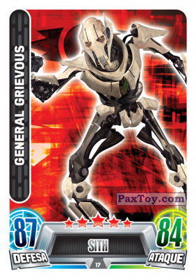 PaxToy.com - 017 General Grievous из Topps: Star Wars Force Attax Heroes y Villanos from Continente