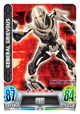 PaxToy.com  Карточка / Card 017 General Grievous из Carrefour: Star Wars Heroes y Villanos Force Attax