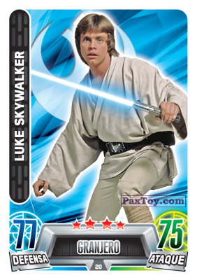 PaxToy.com  Карточка / Card 020 Luke Skywalker из Carrefour: Star Wars Heroes y Villanos Force Attax