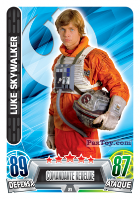 PaxToy.com  Карточка / Card 021 Luke Skywalker из Carrefour: Star Wars Heroes y Villanos Force Attax