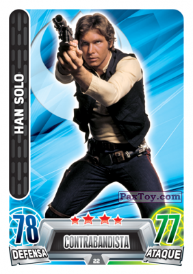 PaxToy.com  Карточка / Card 022 Han Solo из Carrefour: Star Wars Heroes y Villanos Force Attax