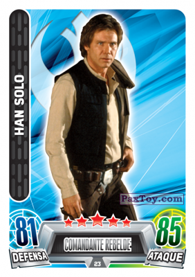 PaxToy.com  Карточка / Card 023 Han Solo из Carrefour: Star Wars Heroes y Villanos Force Attax