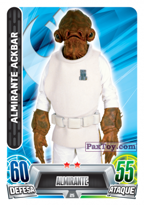 PaxToy.com - 025 Almirante Ackbar из Topps: Star Wars Force Attax Heroes y Villanos from Continente