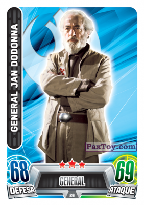 PaxToy.com - 026 General Jan Dodonna из Topps: Star Wars Force Attax Heroes y Villanos from Continente