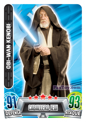 PaxToy.com - 026 Obi-Wan Kenobi из Carrefour: Star Wars Heroes y Villanos Force Attax
