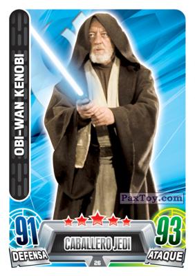PaxToy.com  Карточка / Card 026 Obi-Wan Kenobi из Carrefour: Star Wars Heroes y Villanos Force Attax