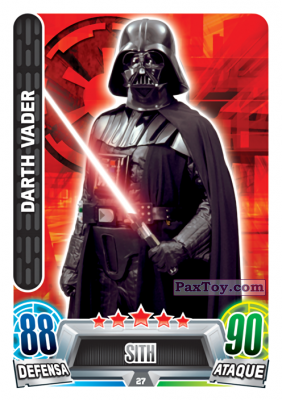 PaxToy.com - 027 Darth Vader из Carrefour: Star Wars Heroes y Villanos Force Attax