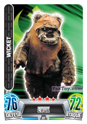PaxToy.com - 027 Wicket из Topps: Star Wars Force Attax Heroes y Villanos from Continente