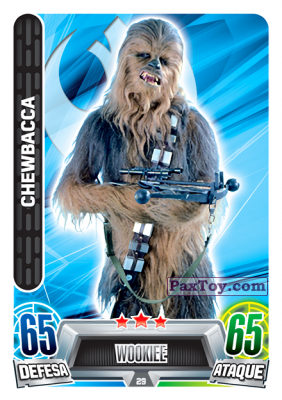 PaxToy.com - 029 Chewbacca из Topps: Star Wars Force Attax Heroes y Villanos from Continente