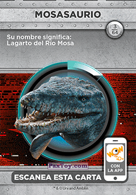 PaxToy.com - 03 Mosasaurio (Сторна-back) из Supermercados DIA: Jurassic World - Cards