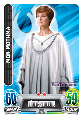 PaxToy.com  Карточка / Card 031 Mon Mothma из Carrefour: Star Wars Heroes y Villanos Force Attax