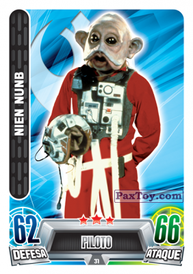 PaxToy.com - 031 Nien Nunb из Topps: Star Wars Force Attax Heroes y Villanos from Continente